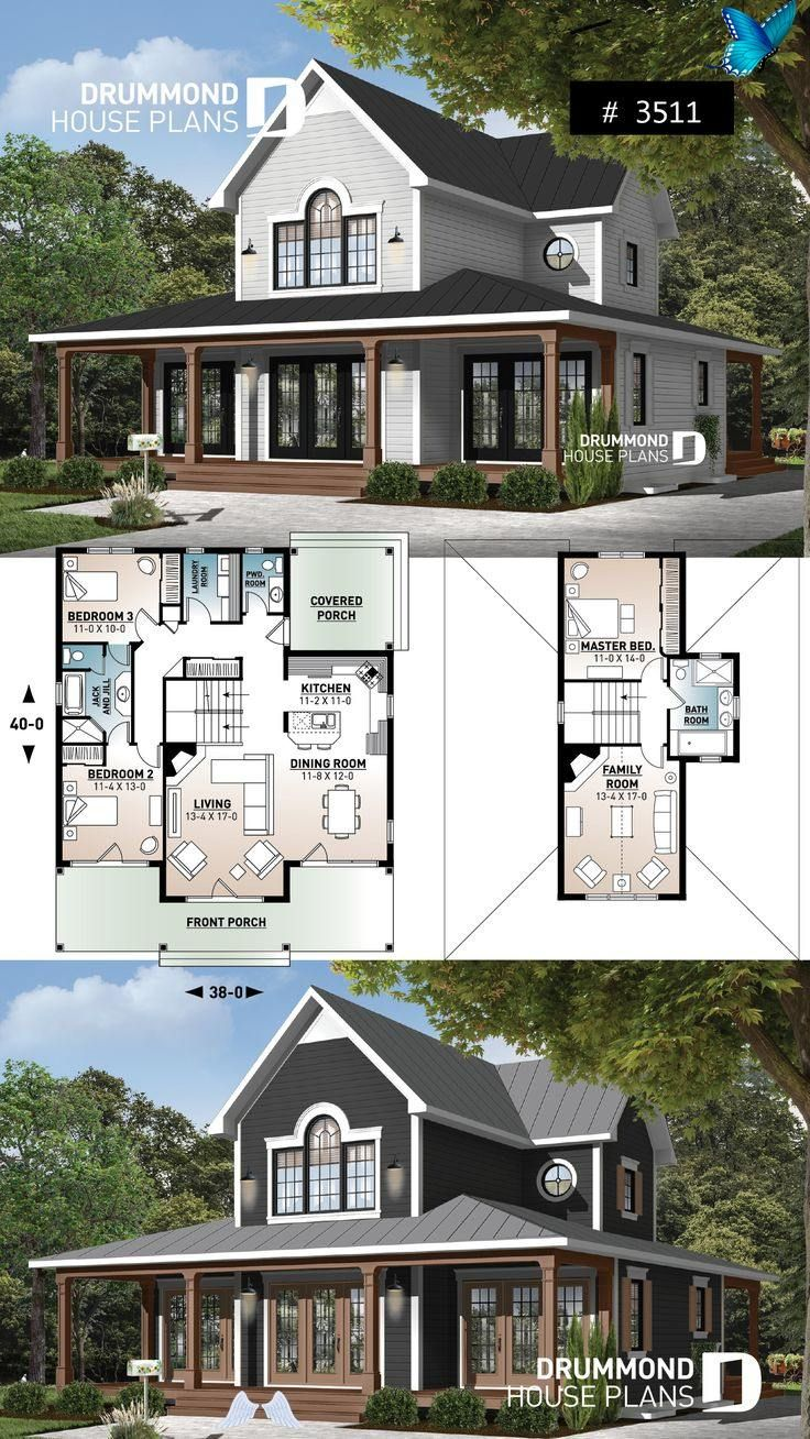 Wraparound Porch Modern Farmhouse With French Doors 4 Season Chalet Or Lakefront Home Plan With Two Fireplaces 3 In 2020 Boerderij Ontwerp Droomhuis Plannen Grondplan