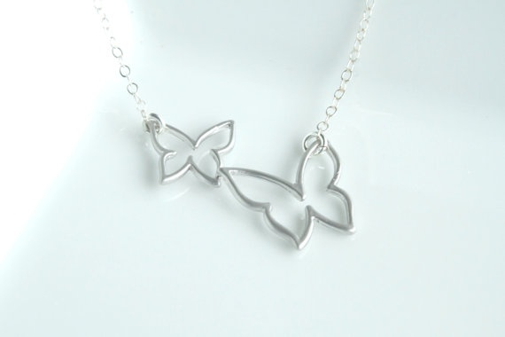 Adult and baby butterfly necklace  sterling silver by Hibiscusdays, $23.00