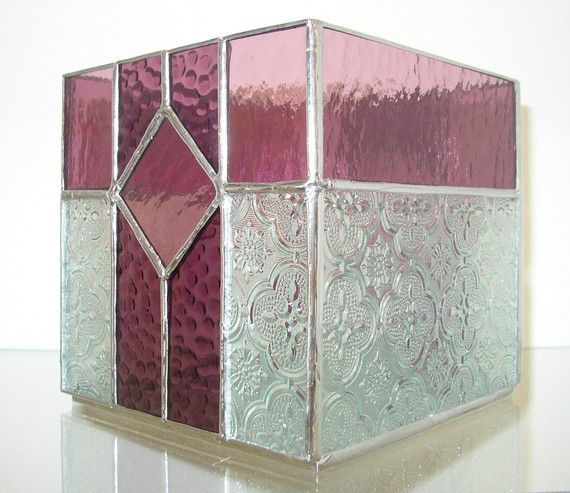 Stained Glass Candle Box Mauve Purple and by DobbyStainedGlass, $49.00