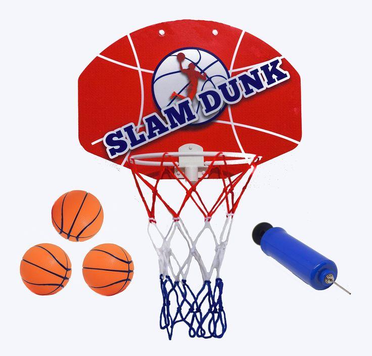 Slam Dunk Mini Basketball Hoop Set   Over The Door Plastic Toy Backboard 14  X 10