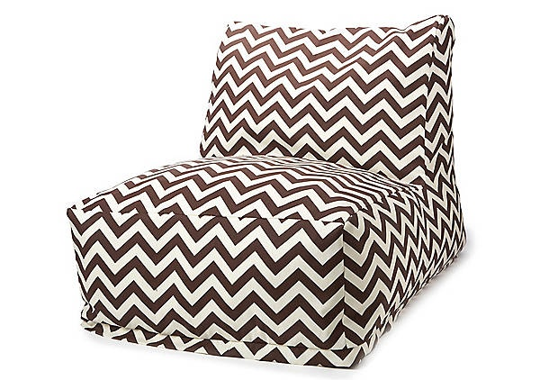Who doesn't love a bean-bag chair? I love the chevron design... would combo nice with my wrought iron staircase, white stucco fireplace, and carmel couch in the sunroom.
