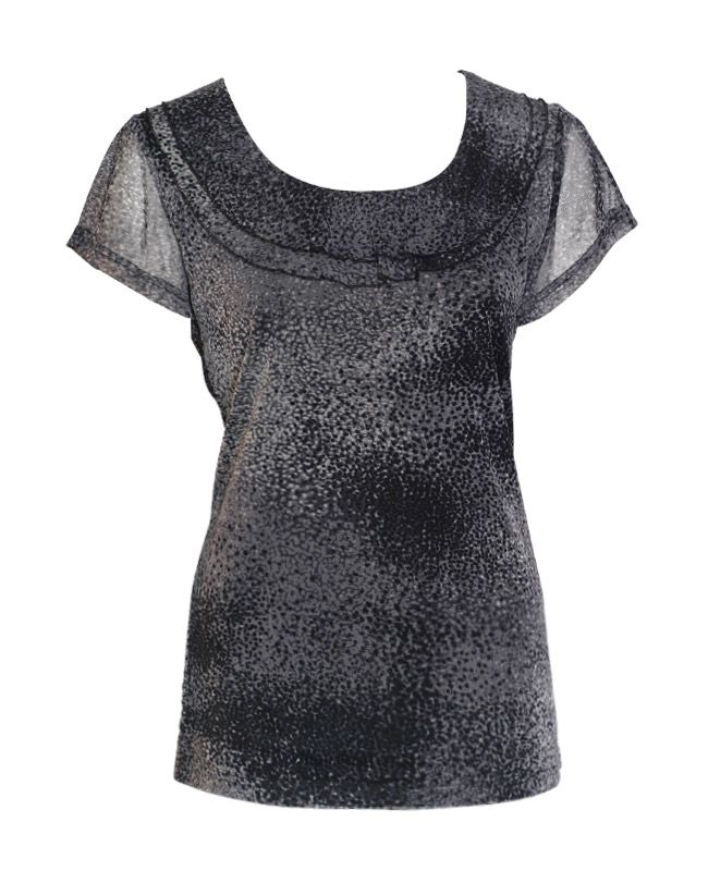 Liz Jordan 2 Layer Frill Top $69.95  Cap sleeve mesh top with two layer frill neck detail, polyester lining 100% Nylon  Item Code: 045319
