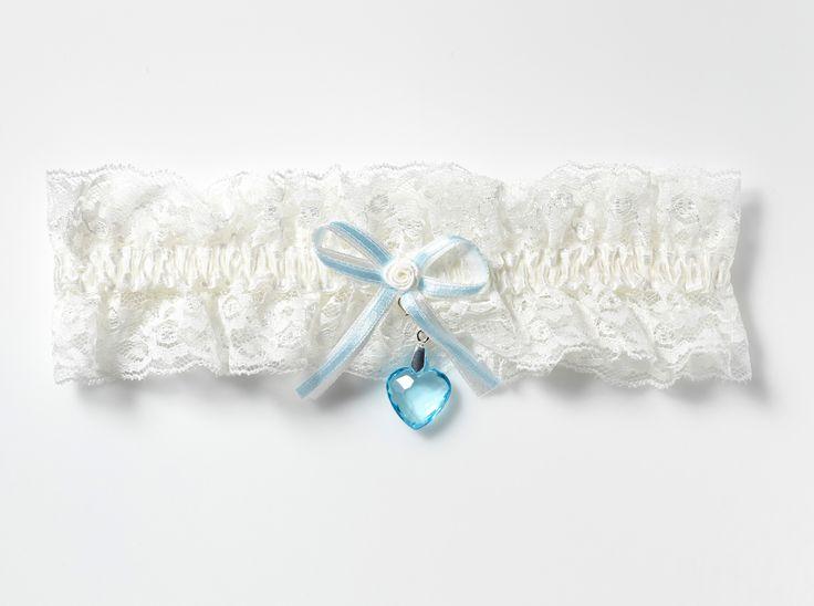 Leuke kousenband met blauw hartje!