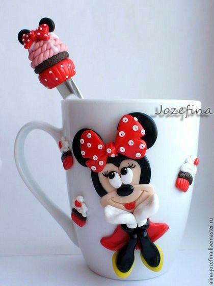 Hrníček na kakao * bílý porcelán s postavičkou Minnie.