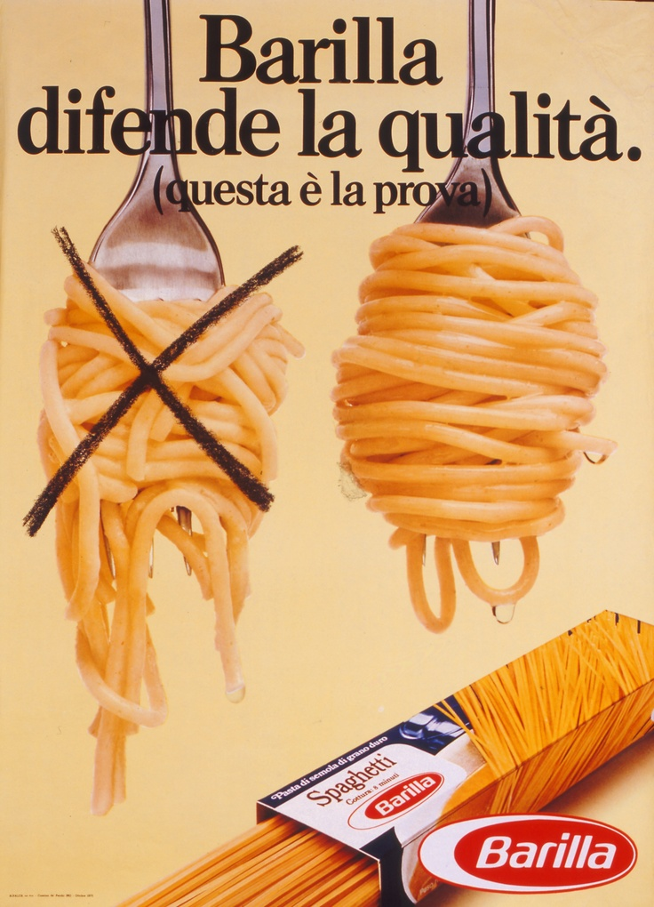 Barilla highlights its superior quality in the 1970's.