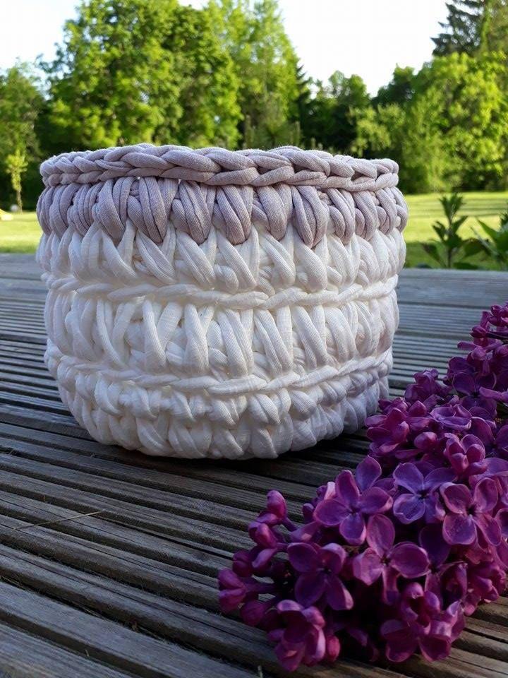 White Crochet Basket by DSahver on Etsy