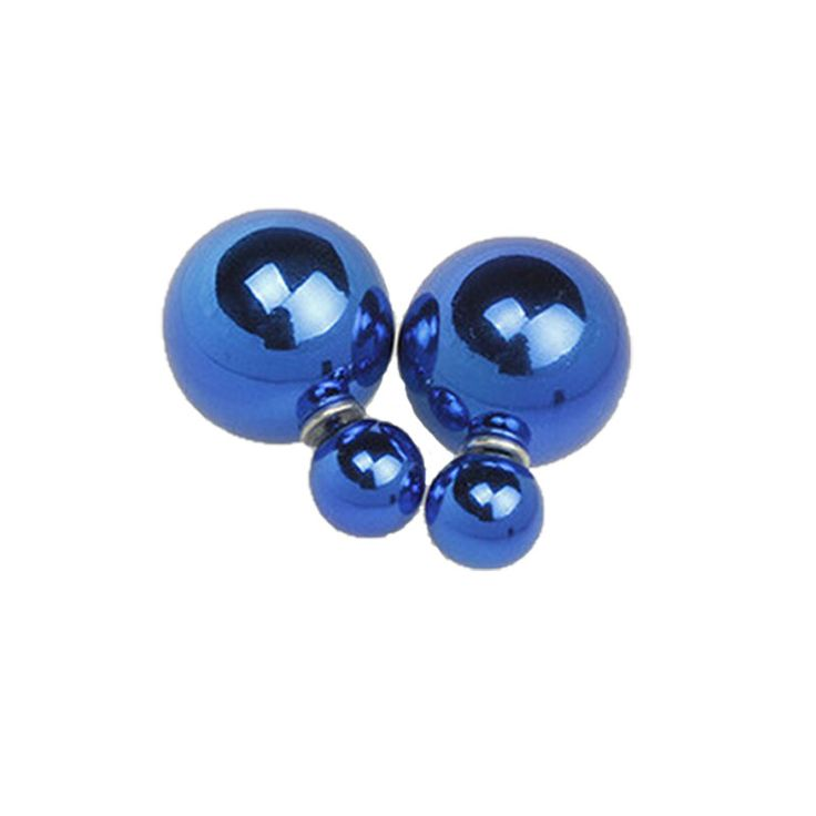 New fashion brand women's pearl candy piercing statement wedding stud earrings double faced B1292