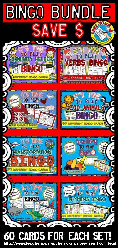 SAVE   WITH THIS  BUNDLE  THIS RESOURCE INCLUDES  8  BINGO SETS CONTAINING 60 BINGO CARDS EACH  30 CARDS DEPICTING  PICTURES  amp  30 CONTAINING  WORDS ONLY   BINGO SETS INCLUDED IN THIS BUNDLE  COMMUNITY HELPERS BINGO  VERBS BINGO  TRANSPORTATION BINGO  ZOO  ANIMALS BINGO  FARM ANIMALS BINGO   UNDER THE SEA BINGO  FRUIT BINGO  RHYMING WORDS BINGO