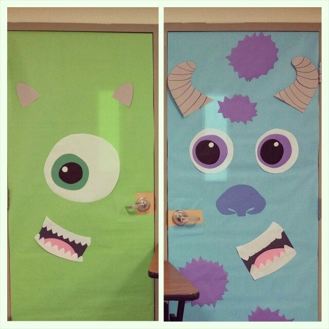 Door decorating: monsters Inc for Halloween | Decorations ...
