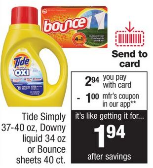37-40 oz Tide Simply, 34oz Downy and 40 Count Bounce Sheets for $1.94 Each at CVS starting 12/24!