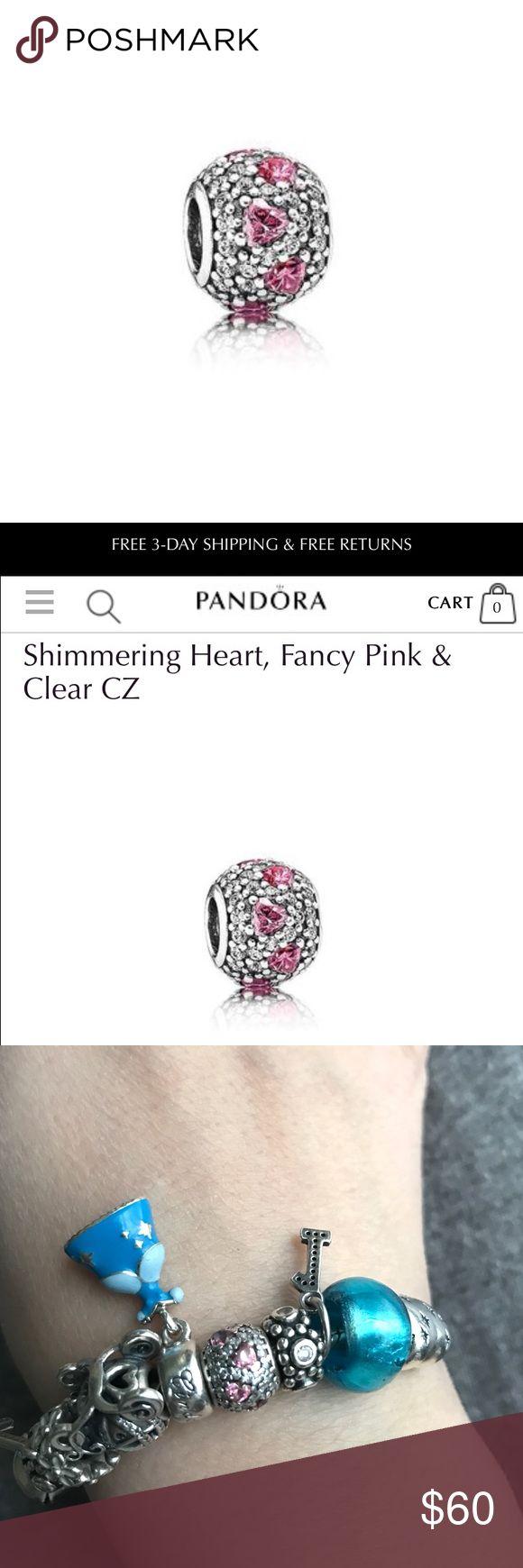 Pink Crystal Heart Pandora Charm Pink Crystal Heart Pandora Official Charm. Pandora Jewelry Bracelets