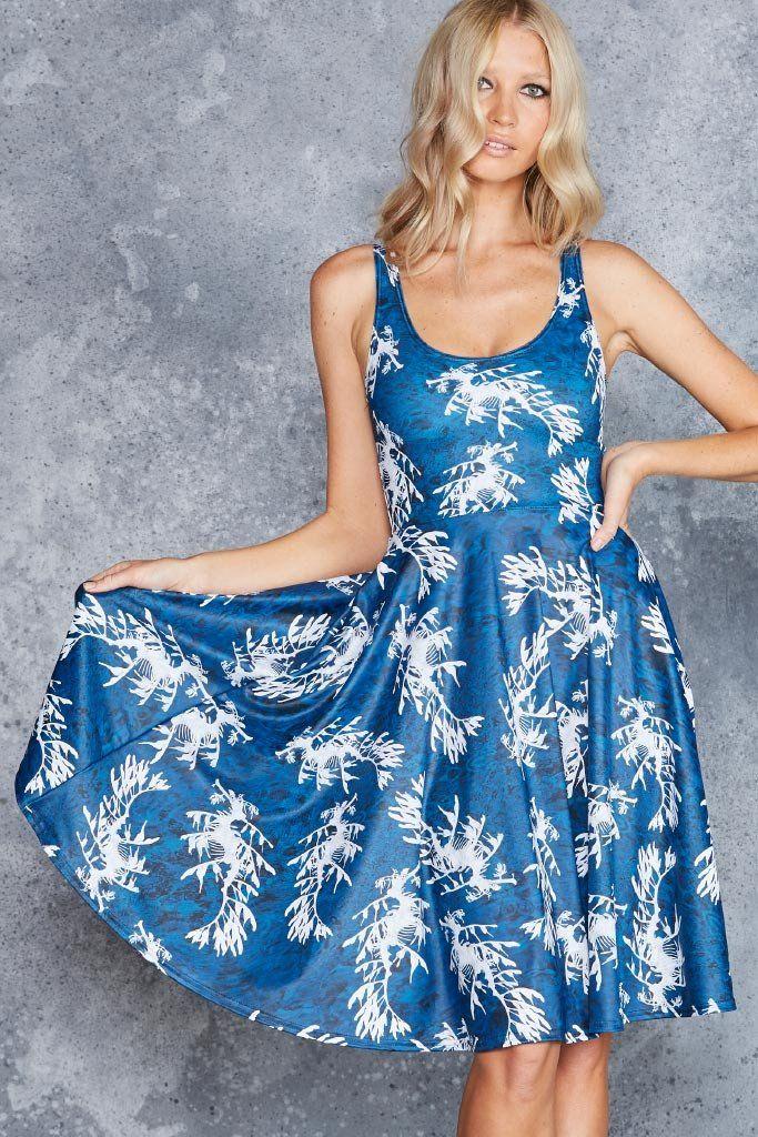 Leafy Sea Dragon Pocket Midi Dress, M