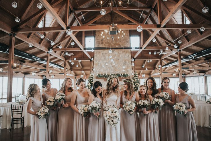 Mismatched neutral bridesmaid dresses in grey, taupe and blush. #sponsored