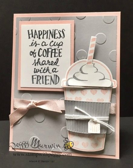 Coffee Cafe Stamp Set, Coffee Cups Framelits, Polka Dots Basic Embossing Folder.  See details at www.stampwithpeggy.com
