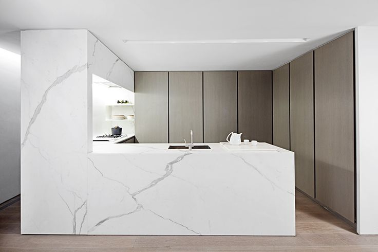 Cocina de marmol (mas barato que otro material) y panelados los armarios y electrodomesticos (deberian ser iguales que el comedor)