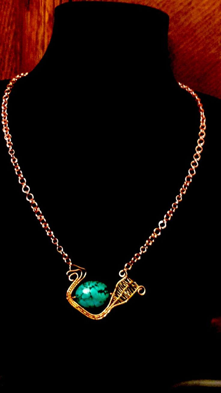 Copper Wire Weave With Turquoise Stone by ExceptionalDesigns13 on Etsy