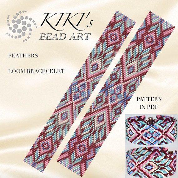 Bead loom pattern - Feathers ethnic inspired LOOM bracelet pattern in PDF - instant download