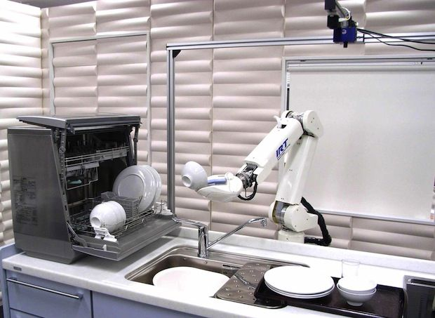 The Kitchen Assist Robot (KAR), developed at the University of Tokyo's JSK Lab, can load and unload a dishwasher