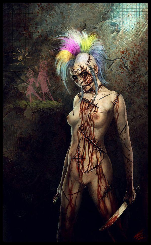female clown with multi color mohawk creepy circus