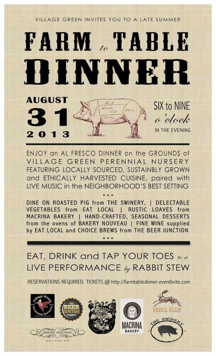 Farm to table dinner menu/invitation layout