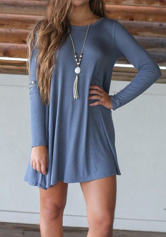 Sleek yet comfy, this light blue mini dress is the perfect addition to your fall wardrobe. Get one for this autumn at Fichic.com!