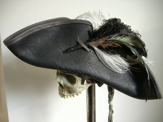 Black Leather Pirate Tricorn Hat with Feather by pirateswife, £85.00