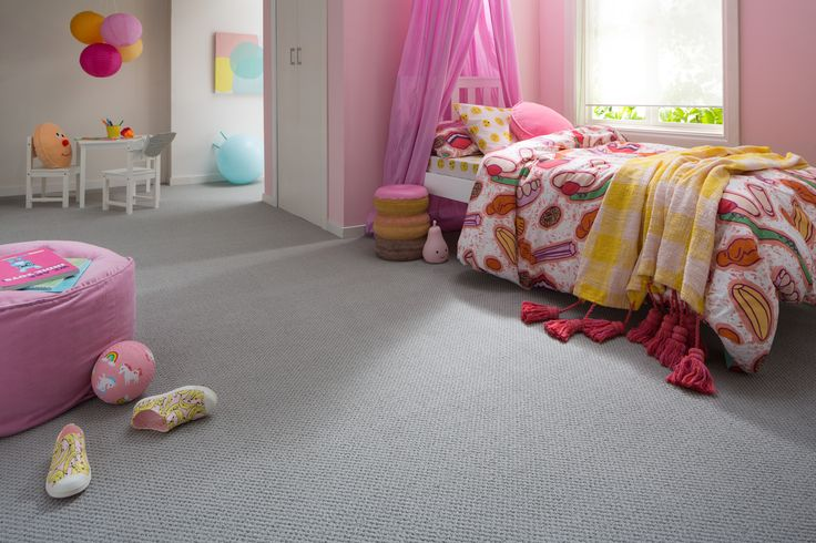 STAINMASTER® carpet converts this room into a whimsical kids zone with soft, multi-level loop pile in grey tones paired with fun pinks and great use of natural light. Find out more about STAINMASTER® carpet on our website at https://www.stainmaster.com.au/