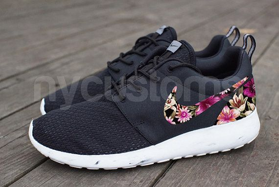 Free Shipping -- Nike Roshe Run Black Marble Floral Bouquet Print Custom Men