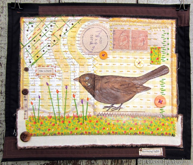 Brown bird mixed media art quilt | peaceofpi studio
