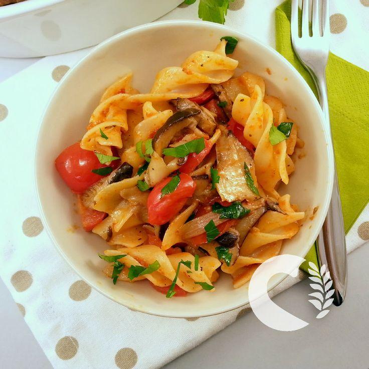 Fusilloni senza glutine ai cardoncelli e pesto di pomodori secchi