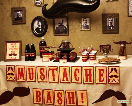Mustache Party Centerpieces Print At Home by FrolicParties on Etsy, $6.95