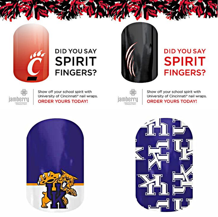 Jamberry Collegiate Nail Wraps- University of Cincinnati Bearcats nail wraps, University of Kentucky Wildcats nail wraps...many more college nail wraps available...get yours today!  http://kathyjo89.jamberrynails.net/category/collegiate