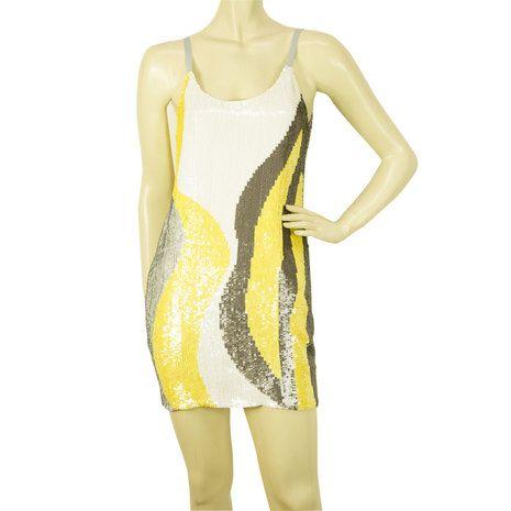 Catherine Malandrino Bright Colored Sequined Super Mini Summer Dress size 2