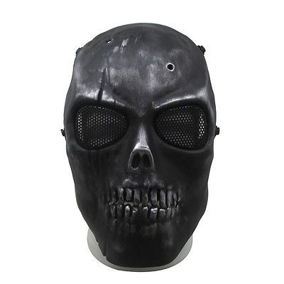 Black Gray Ghost Skull Skeleton Full Face Mask Tactical Paintball Airsoft Safety Mask