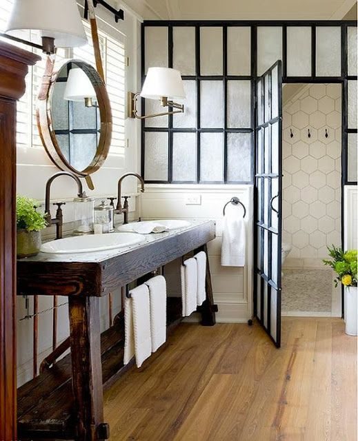 dark frames, oak floor bathroom