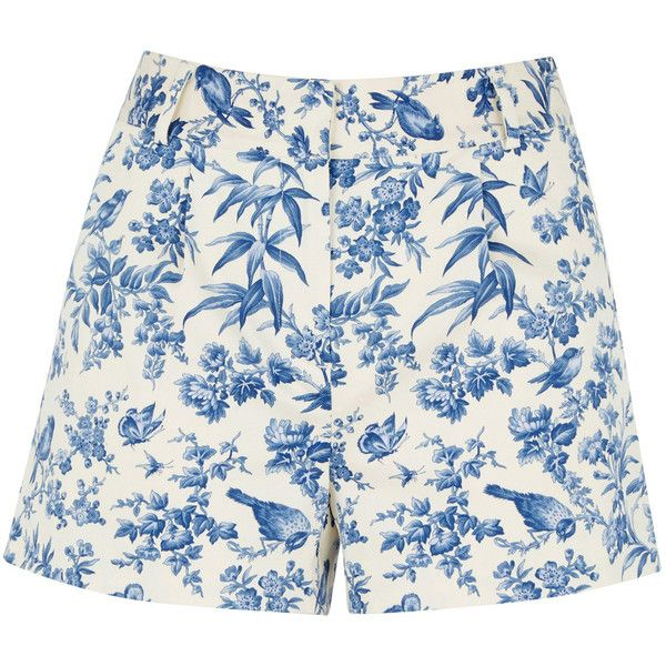 OASIS Rosie Bird Short ($63) ❤ liked on Polyvore featuring shorts, multi, vintage shorts, patterned shorts, short shorts, print shorts and summer shorts