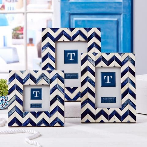 Set of 3 Bone Chevron Picture Frames design by Twos Company