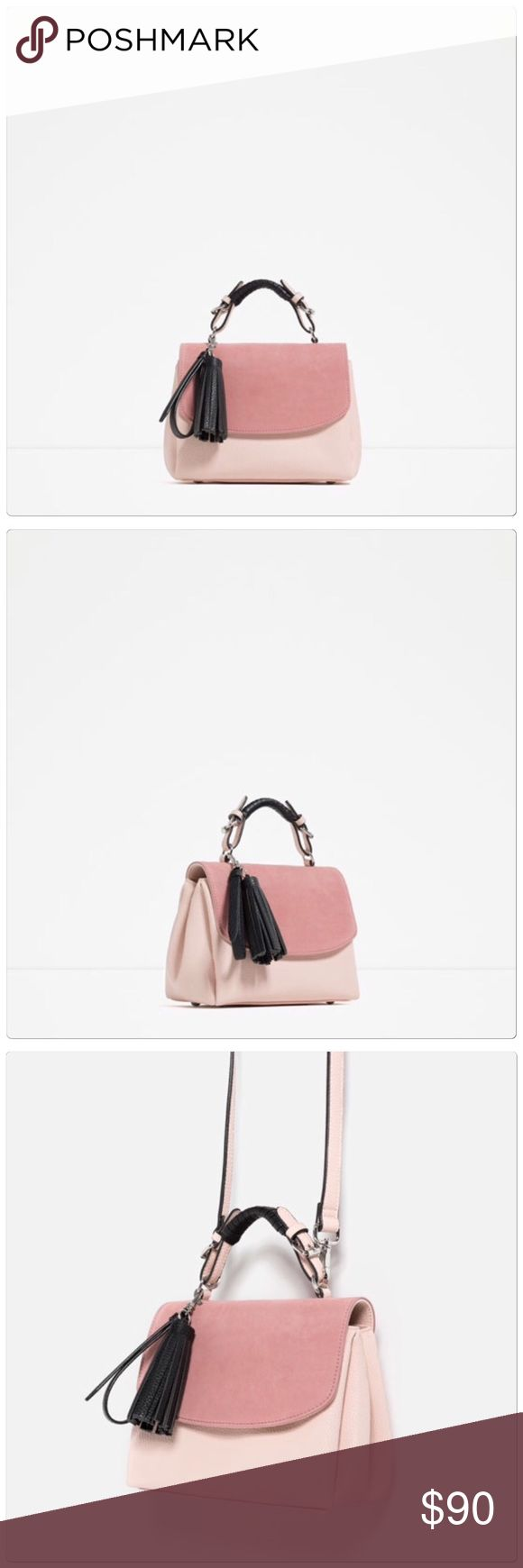 HP  Zara pink leather satchel purse Pink leather satchel purse. Comes with removable strap to wear as crossbody.  Measures approx 9x6x4.  Brand new Zara Bags Satchels