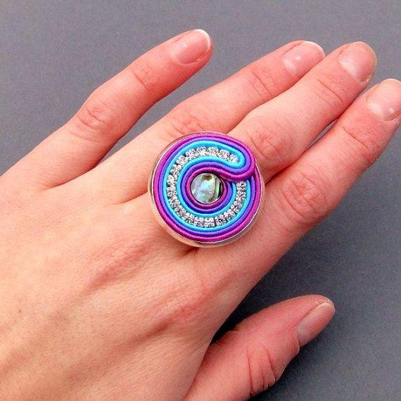 Agama ring soutache braid with Paua shell