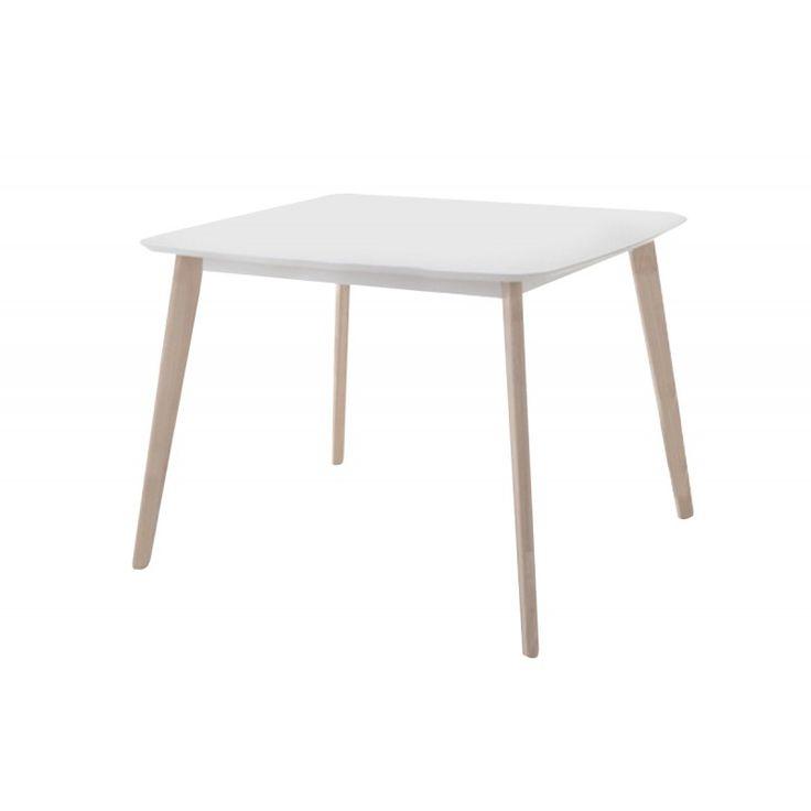 Wooden table Memory MDF white wash white 90x90x75
