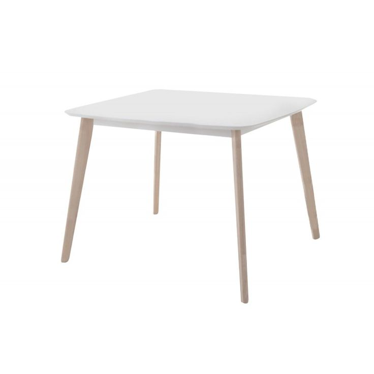 Wooden table Memory MDF white wash white 90x90x75