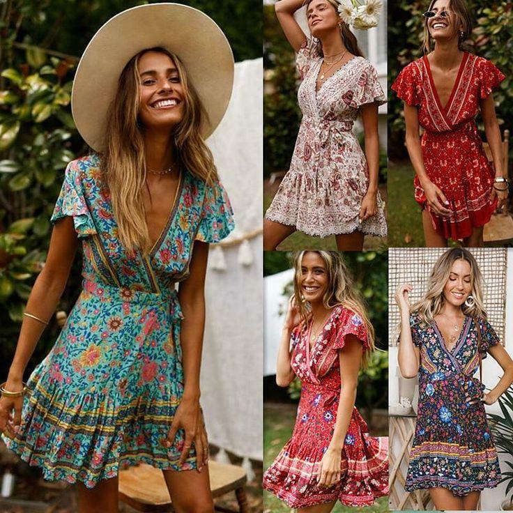 Sexy Summer Women V-neck Floral Print Tunic Sashes Bohemian Dresses Short Mini D... 17