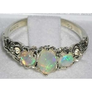 Ladies Solid Sterling Silver Natural Fiery Opal English Victorian Trilogy Ring - Finger Sizes 5 to 12 Available $109.00