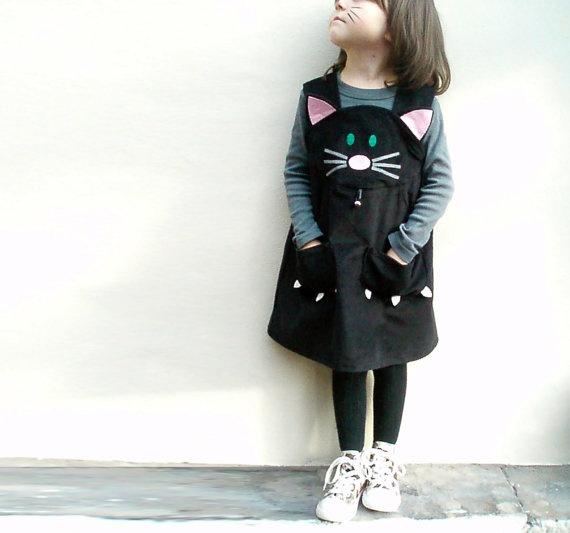 TODDLER DRESS- Little cat- Girls dress- black corduroy -sizes 6m,12m,18m,2t,3t,4t,5t,6t