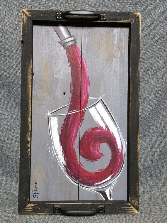 Rotwein-Malerei Wein Tisch Tablett Holztablett Scheune
