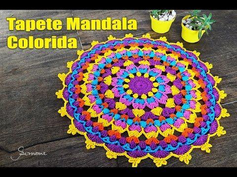 Tapete de Crochê Mandala Colorida Parte 1 - Simone Eleotério