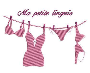 Motif Broderie machine Ma petite lingerie 130x180