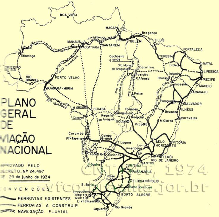 Ferrovias do Plano Geral de Viação Nacional   1934   Planos ferroviários