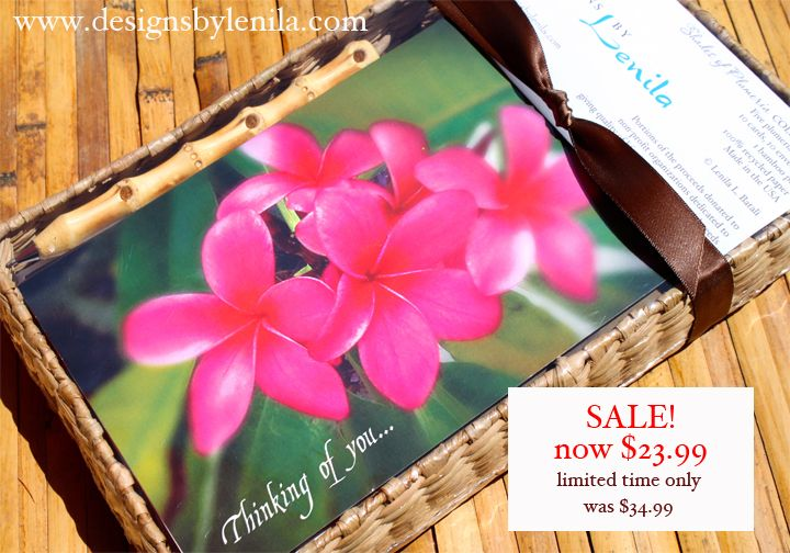 Perfect gift for your tropical bridesmaids! They love them!! On Sale Now - $23.99 Beautiful and soft, artistic photography of assorted plumerias; 5 plumeria designs. 10 cards, bamboo pen organically packaged in a seagrass tray. Portions of proceeds donated to autism cause! Designsbylenila.com Seagrass Boxes & Trays by: Eco-Friendly Market www.ecofriendlymarket.net Tel# (951) 674-7337 sales@ecofriendlymarket.net