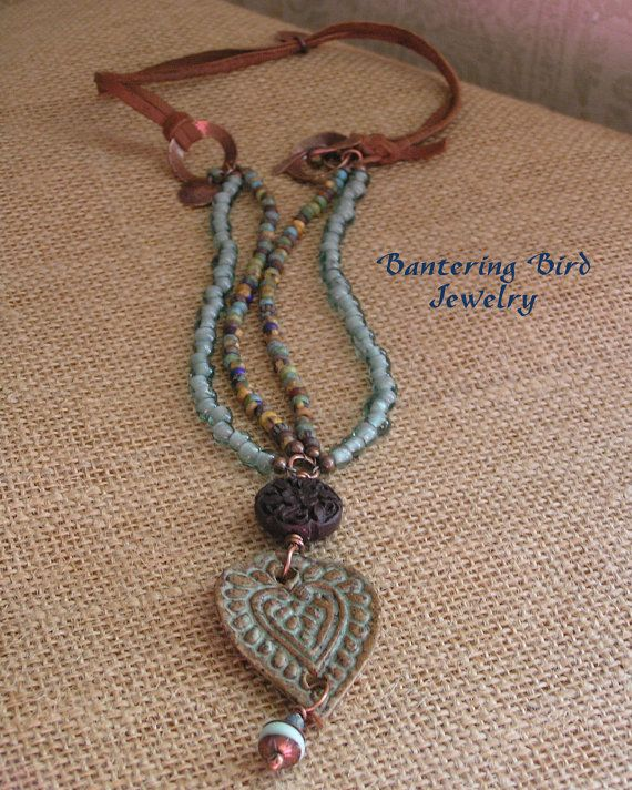 Speckled Stoneware Pottery Heart Pendant Double by BanteringBird